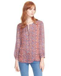 Joie | Blue 'pazima' Print Silk Top | Lyst