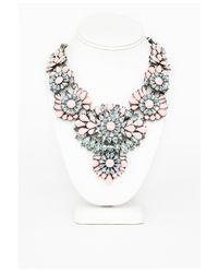 Missguided | Pink Ravenna Floral Gem Detail Statement Necklace Blush | Lyst