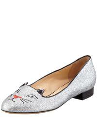Charlotte Olympia Metallic Kitty Glitter Flat Slipper Silver
