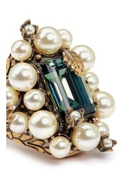Gucci Green Oversize Glass Pearl Crystal Flowering Ring