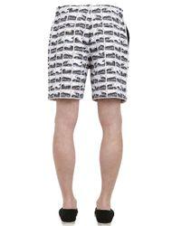 KENZO | White Waveprint Neoprene Shorts for Men | Lyst