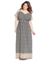 Soprano - Black Plus Size Short-Sleeve Printed Maxi Dress - Lyst