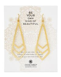 Dogeared | Metallic Gold-dipped Be Your Own Kind Of Beautiful Chevron Earrings | Lyst