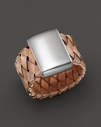 Roberto Coin | Metallic 18k Rose Gold Plated Sterling Silver Woven Ring | Lyst