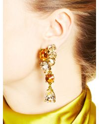 Oscar de la Renta | Multicolor Swarovski Crystal Asymmetrical Earrings | Lyst