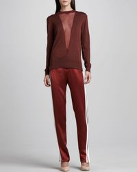Adam Lippes Red Satin Track Pants Copperwhite