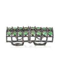 Bernard Delettrez | Multicolor Articulated Cage And Studs Ring W/tsavorites | Lyst