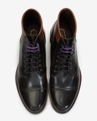 Ted Baker Black Leather Derby Boots for men