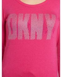 DKNY Pink Long Sleeved Jersey Top Pyjama Set