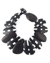 Monies | Black Checked Beads Necklace | Lyst