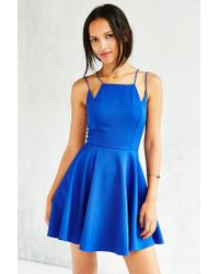 Silence + Noise | Blue Square-neck Strappy Skater Dress | Lyst