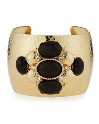 R.j. Graziano | Black Crystal & Cabochon Cuff Bracelet | Lyst