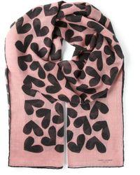 Saint Laurent Pink Heart Print Scarf