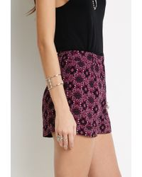 Forever 21 - Pink Ornate Floral Print Shorts - Lyst