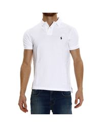 Polo Ralph Lauren White Short Sleeve Smocking Slim Fit Polo T-Shirt for men