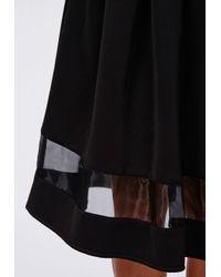 Missguided - Minsie Scuba Organza Panel Full Skater Skirt Black - Lyst