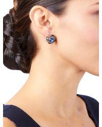 Oscar de la Renta - Blue Crystal Button Earrings - Lyst