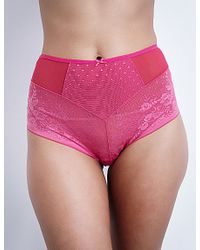 Panache Red Olivia Mesh High-waisted Briefs