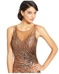 Patra Metallic Illusion Embellished Open-Back Gown