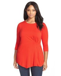 Vince Camuto Red Side Pleat Asymmetrical Top