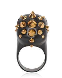 Alexander McQueen | Metallic Studded Skull Brass Ring | Lyst