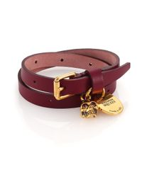Alexander McQueen Purple Leather Skull Wrap Bracelet