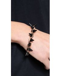 Joomi Lim Metallic Black Out Double Row Spike Bracelet - Rose Gold/Black