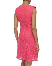 Chetta B - Multicolor Sleeveless Floral-Lace V-Neck Shift Dress - Lyst