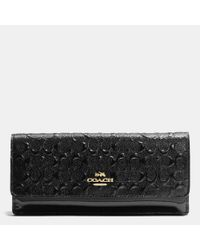 COACH | Black Soft Wallet In Logo Embossed Patent Leather | Lyst