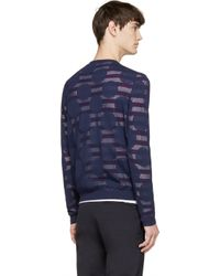 KENZO - Blue Navy Striped And Dotted Layered Sweater for Men - Lyst