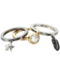 COACH - Metallic Pave Multi Charm Stackable Ring Set - Lyst