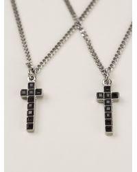 DSquared² - Metallic Double Crucifix Necklace for Men - Lyst