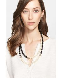 St. John | Metallic Two-tone Faux Pearl Double Strand Necklace | Lyst