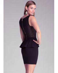 Bebe Black Lace & Ponte Peplum Dress