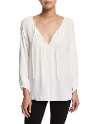 Joie - White Lindrall Tie-front Blouse - Lyst