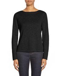 Eileen Fisher | Black Knit Bateau Neck Top | Lyst