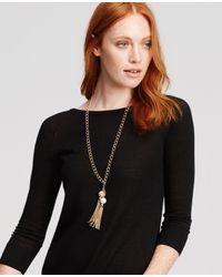 Ann Taylor | Metallic Double Tassel Pendant Necklace | Lyst
