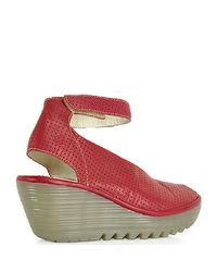Fly London | Red Yala Ankle Strap Peep Toe Wedge | Lyst