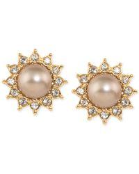 Carolee - Metallic Top Of The Rock Gold-tone Imitation Pearl Sunburst Clip-on Earrings - Lyst