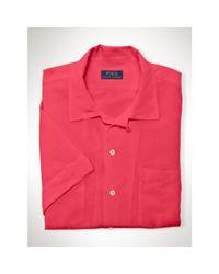 Polo Ralph Lauren - Pink Linen-silk Short-sleeved Shirt for Men - Lyst