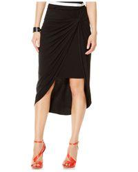 INC International Concepts Black Draped High-low Pencil Skirt