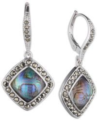 Judith Jack Blue Sterling Silver Abalone (4-1/2 Ct. T.w.) And Marcasite Drop Earrings