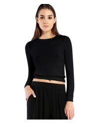 Michael Stars | Black 2x1 Rib Long Sleeve Crop Pullover | Lyst