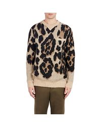 Sacai - Black Leopard Jacquard Sweater for Men - Lyst