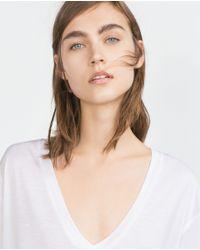 Zara   White Basic T-shirt   Lyst