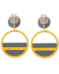 Marni Gray Large Grey Retro Hoop Clip-on Earrings