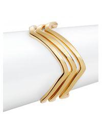 Rebecca Minkoff | Metallic Zigzag Bangle Bracelet Set | Lyst