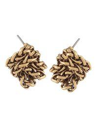 Lauren by Ralph Lauren | Metallic Goldtone Braided Knot Stud Earrings | Lyst