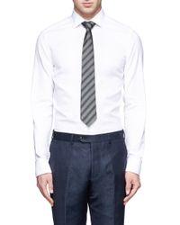 Armani | Gray Diagonal Stripe Tie for Men | Lyst