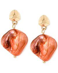 Kenneth Cole | Gold-tone Orange Shell Bead Drop Earrings | Lyst